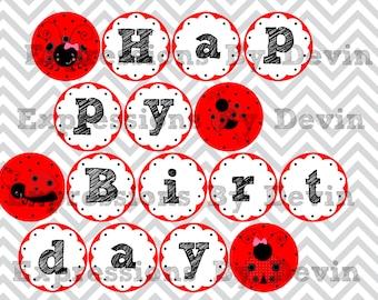 Instant Download DIY Printable Little Ladybug Inspired Happy Birthday Banner 4 inch circle DIGITAL PDF Banner