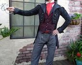 Black Tapestry Steampunk Frock Cutaway Wedding Jacket