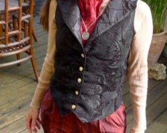 Black on Black Tapestry Steampunk Women or Gentlemen's Vest