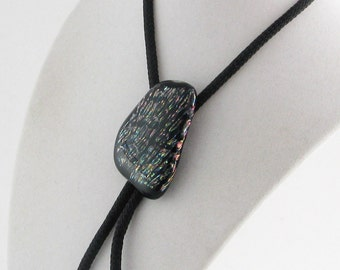 Dichroic glass BOLO - Black  Bolo Necktie accessory- One of a kind - Glass Bolo (1581)