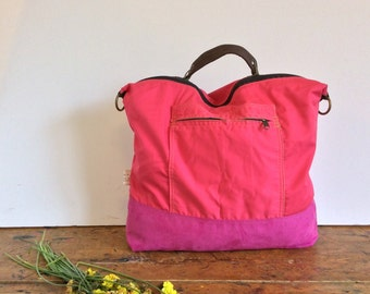 Fuchsia convertible backpack purse, CONVERTIBLE messenger,foxy leather shoulder bag,strong backpack,convertible rucksack,canvas backpack