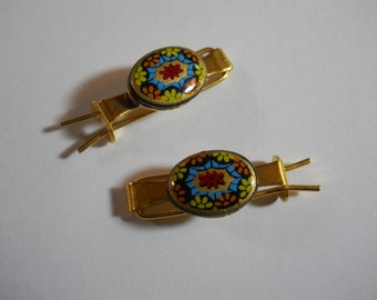 Small Gold Barrettes with  Glass Cabochons Black Mosaic Oval Cabs on Sturdy Gold Metal Vintage Barrettes