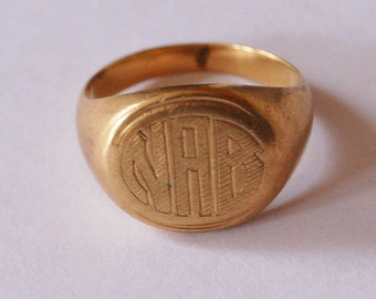 Vintage Signet Ring 10 K Gold Mens Engraved with 1943 Date 9.9 Grams
