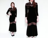 Vintage 90s Dark Brown Velvet SHEER CUT OUT Maxi Witchy Dress // Grunge Gothic Long Dress