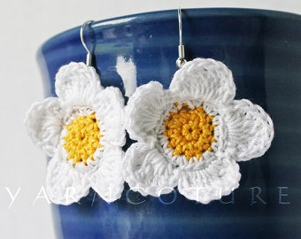 Hand Crocheted White Daisies Floral Dangle Earrings - Island Girl Collection