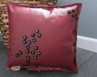Hematite and Glass Beaded Leather Pillow