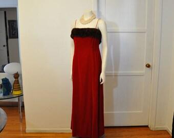 1960s dress / Santa Baby Vintage 60's Red Velvet Mink Trim Cocktail Dress