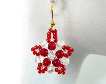 Red and White Earrings, Beadwork Earrings Peppermint Candy Stripes Beaded Dangles Beadwoven Flowers Netted Bead Weaving Feminine Jewelry