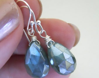 Mystic Blue Flash Labradorite Earrings, In the Mist Earrings, Mystic Labradorite, Gemstone Earrings, VERY different, Gift Idea
