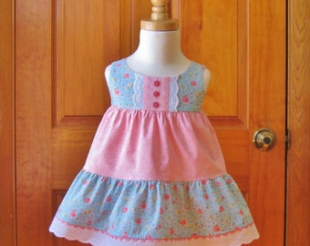 Baby girl tiered dress & shorts set, pink and yellow roses on blue, sleeveless, ready to ship, size 6 months, party dress, baby gift