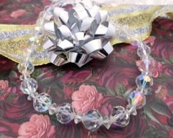Vintage Swarovski Crystal Aurora Borealis Necklace