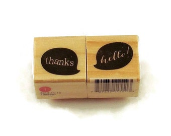 Mini  Rubber Stamp Set  -  Thanks /Hello!