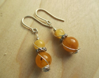 Citrine Earrings, Orange Earrings, Yellow Earrings, November Birthstone,  November gift, November birthday