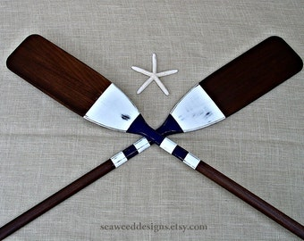 59INCH Oar Pair (2) Rustic Stained and Distressed Painted Striped Oars in color choices / Nautical Nursery Decor / Canoe Paddles/ Lake Decor