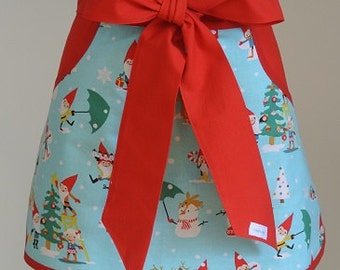 Christmas Apron - Holiday Apron - Apron - Pocket Apron - Hostess Apron - Knome Holiday Print with Red Trim Adult Half Apron with Pockets