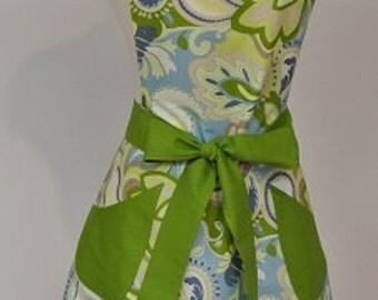 Green/Blue/Cream Print with Green Trim Retro Adult Apron - Print Apron - Personalized Apron - Bib Apron - Womens Apron - Classic Apron