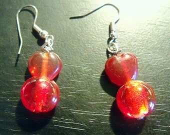 glass bead heart earrings SPECIAL PRICE select  grey , red, blue, pink or crackle