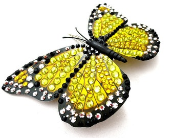 Yellow and Black Jeweled Butterfly Hair Clip, Yellow Rhinestone Butterfly Hair Barrette, Fantasy Rhinestone Butterfly Hair Piece