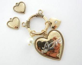 Set of Love Charms Pendant and Charms Gold-tone