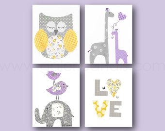 Home Décor Purple yellow gray Nursery Art baby girl nursery decor kids art love Owl giraffe nursery wall art elephant nursery Set 4 prints