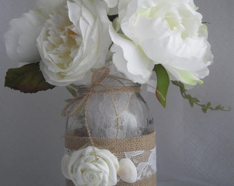 Just Tie It On Burlap And Lace Mason Jar Cozy Seashells For Beach Weddings For Any Size You Wish Set Of Five Handmade by handcraftusa Etsy