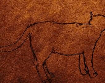 Cat ACEO print in Sepia Pencil Art Card Editions or Originals