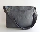 Sale - Grey Linen Tote, purse, shoulder bag, cross body, messenger, everyday bag - MELANIE