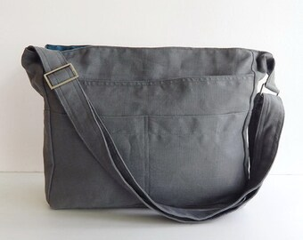 Sale - Grey Linen Tote, purse, shoulder bag, cross body, messenger, everyday bag - MELANIE