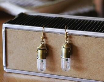 Steampunk Jewelry- Upcycled Brass Light Bulb Earrings, Steampunk Earrings