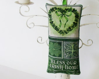 Bless Our Irish Home Ornament / Beige, Irish Green Textiles St. Patrick's Day Decor / Doorknob Adornment / Unique Gift Under 30