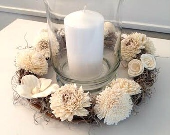 Candle wreath/centerpiece made with Sola flowers - choose your colors - balsa wood - Table arrangement- Wedding Decor - Centerpiece