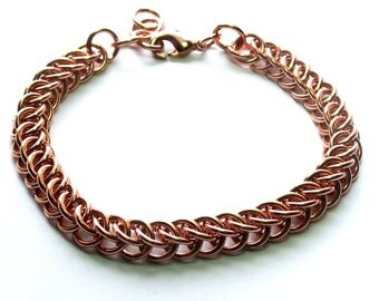 Copper Chainmaille Half Persian 3-1 Bracelet