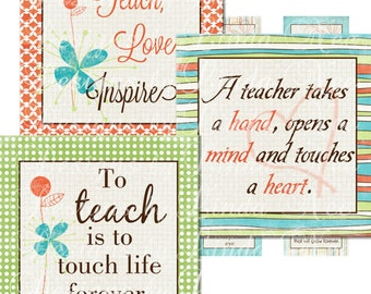 Instant Download - To TEACH is to LOVE (.75 x .83 scrabble Inch) Bottlecap Images Digital Collage printable, Teacher Appreciation Gifts, DIY