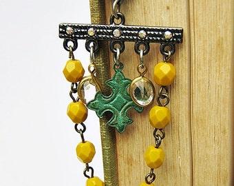 Chandelier Earrings, Bohemian Earrings, Celtic Cross, Mustard Yellow, Boho Jewelry, Clear Rhinestones, Dangle