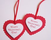 Happy Valentine's Day Heart Favor Tags set of 12 tags