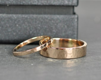 Rose Gold Wedding Band Set, 2mm and 5mm Rings, 18K Rose Gold, Hammered, Sea Babe Jewelry