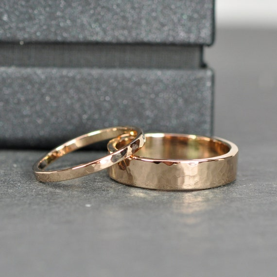 Rose gold wedding band set 2mm and 5mm rings 18k rose gold for 18k gold wedding ring set