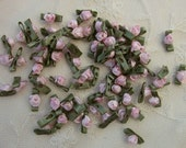 72pc Pink Satin Ribbon Fabric Flower Applique Baby Doll rose bud bow