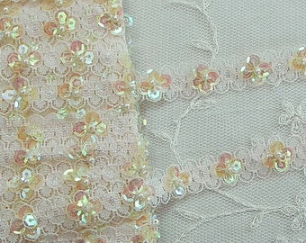 Buttercup Yellow Sequin Pearl Beaded Flower Lace Ribbon Trim Easter Scrapbook Doll Quilt