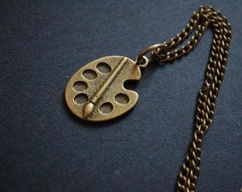 bronze artist paint palette necklace