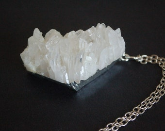 Large natural crystal quartz nugget necklace