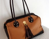 Handmade Frame bag  Doctors bag buttery soft thick brown camel tan deerskin top frame opening braided lacing accents