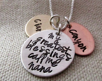 My Greatest Blessings  Small Size - Hand Stamped Jewelry - Personalized Necklace - Nana Necklace