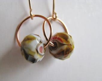 Copper Earrings, Brown Beige Earrings, Mottled Creme Brown and  Bright Copper Earrings