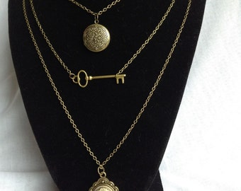 Layered Necklaces, Locket, Cameo and Skeleton Key Necklaces, Steampunk jewelry