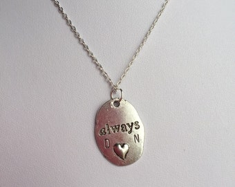 Always Charm Necklace, Personalized Necklace, initial Necklace