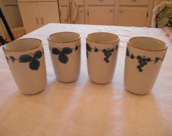 Set of 4 Vintage Pottery Juice Glasses Off white with blue leaves and grapes