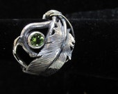 Sterling Silver Feather, root and Peridot Brutalist Adjustable Ring