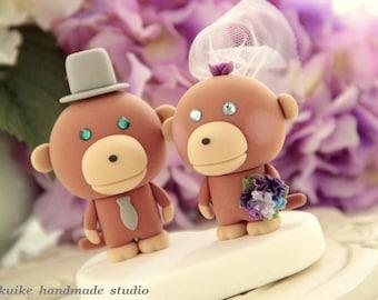 orangutan wedding cake topper, monkey Wedding Cake Topper---k789