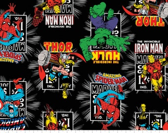Marvel Vintage Comic Books Black Fabric By The Yard